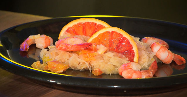 Crevetten auf Orangen-Sauerkraut
